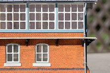 JCL's switch tower windowframes and windows cut with a Silhouette Cameo.  Click for bigger photo.